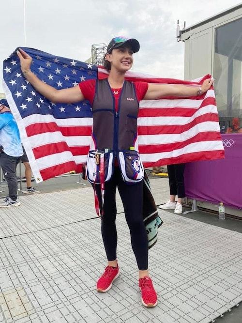 Kayle Browning celebrates winning silver in Tokyo.