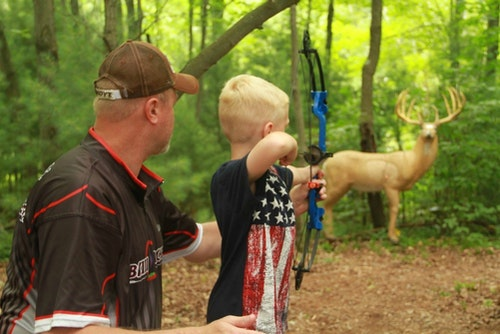 Kids often get bored when shooting at paper targets, but they stay engaged when firing arrows at lifelike 3-D targets.