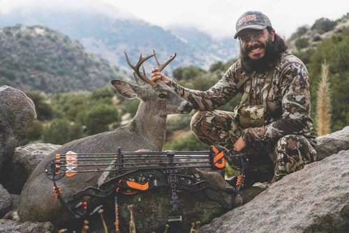 The author with his spot-and-stalk Arizona archery Coues buck.