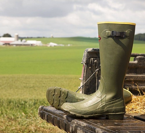 Uninsulated LaCrosse Grange rubber boots have been keeping feet dry since they were introduced in 1957.