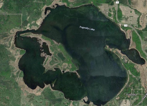 Lake Puposky in north-central Minnesota. Dan, John and Erik were hunting off the large island on the east (right) side.
