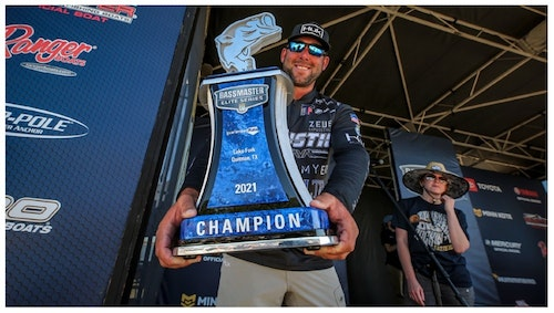 Lee Livesay celebrates his Bassmaster Elite victory on Lake Fork, Texas, where he guides full-time for largemouth when he's not traveling the country fishing B.A.S.S. tournaments.