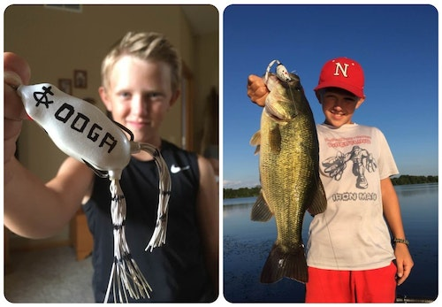 Many diehard bass anglers modify their topwater frogs, but no one does it like the author's youngest son Luke. On this frog, Luke used a marker to add the name of his goldfish — Ooga — which he had at age 4, as well as the Christian fish symbol. As you can see in this pic from 2016, it's deadly.