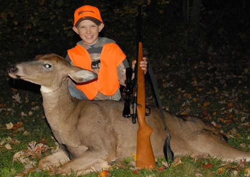 Several years after finding the fawn in the top photo in his backyard, the author's son tagged his first whitetail, an ancient doe on public land in Wisconsin. A couple years later, he shot the immature doe below on private land in South Dakota. Going forward, the author and his sons will try to harvest immature does instead of mature does, with the ultimate goal of increasing overall fawn survival.