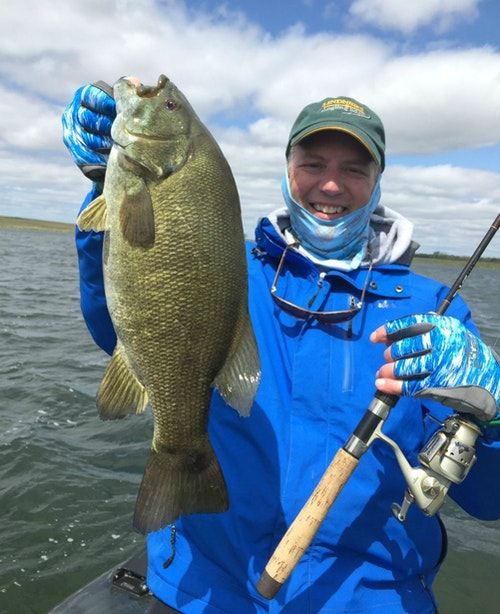 One of several thick-bodied spring smallmouth bass caught by the author and his son on a recent roadtrip to South Dakota. Prior to release, this fish weighed 4 pounds 9 ounces on a digital scale. The author wore fishing gloves for the first time this day, and they kept his hands warm, protected from the sun, and tough fabric prevented the fish from tearing up his hands.