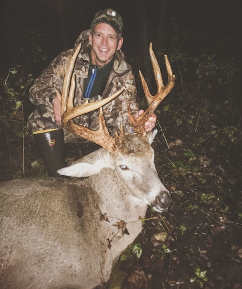 The author arrowed this mature buck in Kansas during a consistent drizzle. The buck ran only 80 yards after the arrow penetrated both his lungs, and blood was difficult to follow due to the rain.