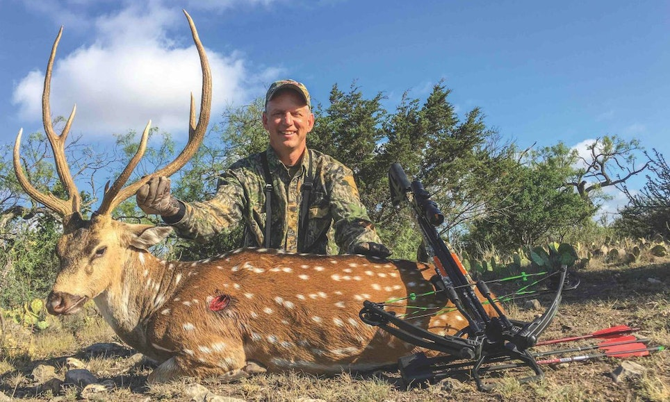 As this photo shows, the author's arrow struck the broadside buck right over the front leg, resulting in an ideal double-lung hit.