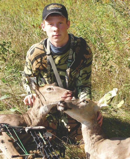 The author double-lunged these two does one afternoon from a treestand he hung himself. To this day, it's one of his most memorable hunts.
