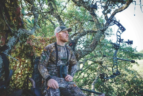 The author endured hot temperatures and long hours in both treestands and ground blinds, proving that a Texas bowhunt for exotics is far from easy.