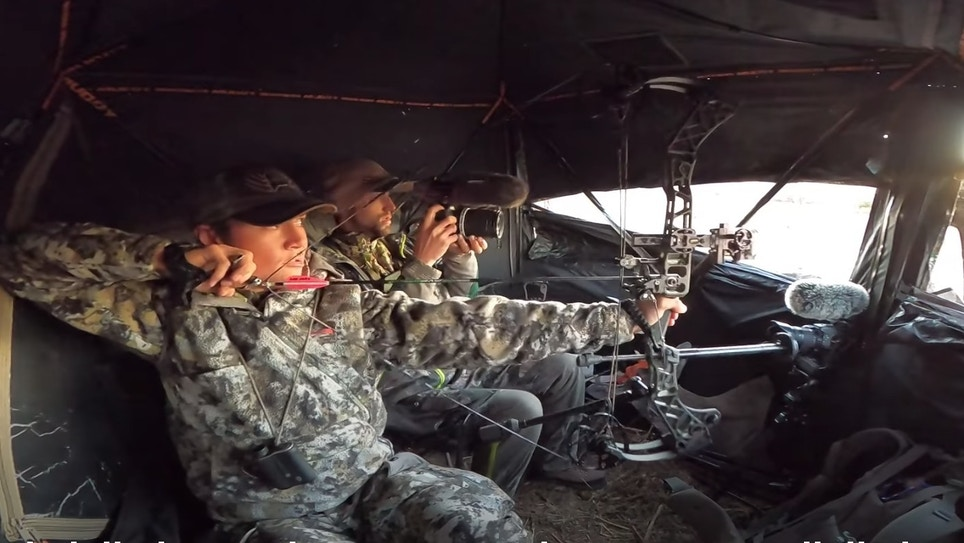 Video: Two Bowhunters Ambush Nebraska Whitetails from a Pop-Up Blind