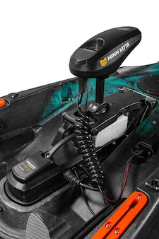 The two Sportsman AutoPilot motorized kayaks feature the Minn Kota iPilot remote/GPS system.