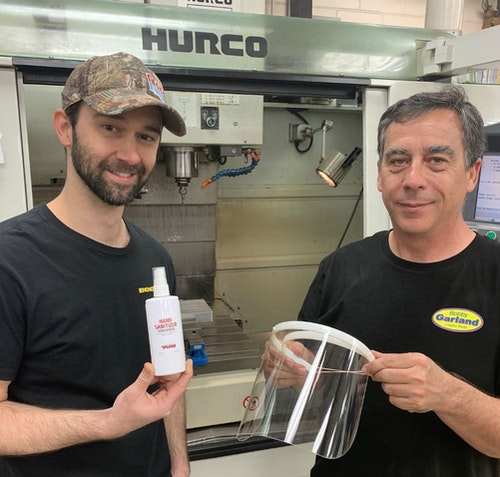 Pradco Fishing employees with hand sanitizer and face shields created in the company's lure manufacturing facility in Fort Smith, Arkansas.