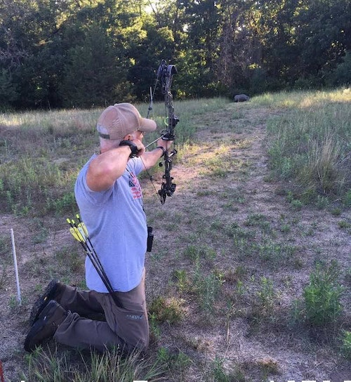 Don't take all your shots from a comfortable standing position. Mix it up to simulate a real hunting scenario.