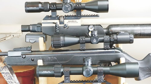 The MTC Cobra F1, Leapers Compact SWAT and Element Helix are all solid choices for hunting. The Cobra and Helix are first focal plane models while the Compact SWAT is a second focal plane scope.
