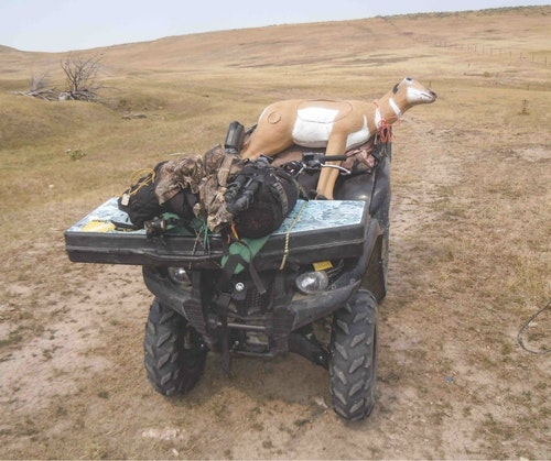 Several of the leading archery target manufacturers, including Rinehart, make realistic likenesses of pronghorns. These 3-D foam targets heavier than a hollow-bodied plastic decoy, but the targets can be deployed with the help of an ATV or truck to a location primed with a ground blind.