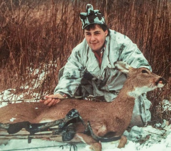 A young Ralph Cianciarulo proudly poses with a doe. The good news: Nothing has changed! He drops the string on a number of does each year.