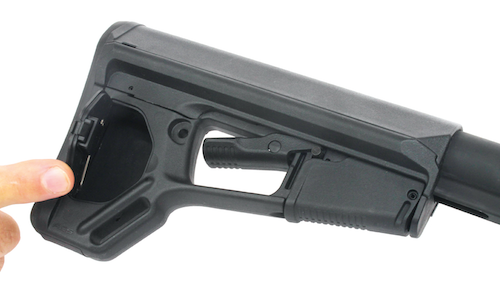 Magpul's ACS buttstock is lockable in six positions, offers several sling attachment points and has a small trapdoor storage compartment.