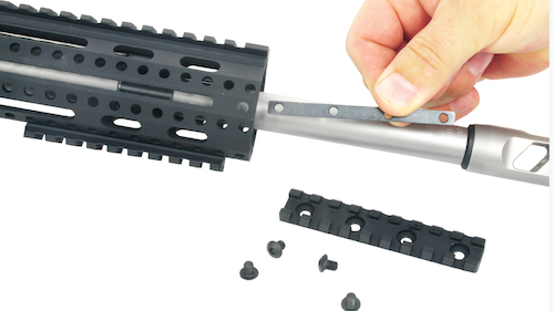 The handguard has a full-length top rail, M-LOK slots and full-length T-slots for positioning rail sections anywhere along the length at the 3, 6 and 9 o'clock positions.