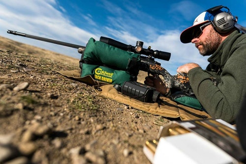 No bench? No problem. Rather than trying to use the tailgate or hood of a guide's pickup, throw down a shooting mat, blanket or tarp and go prone. A solid gun rest is still key to sighting-in success.