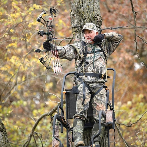 Single ladder stands work well for bowhunting provided you don't have to shoot with your draw arm straight back toward the tree.