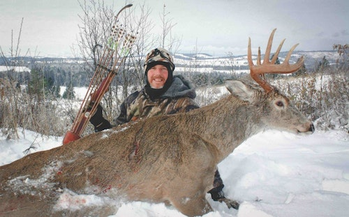 This was the author's first trophy buck after moving to northern Idaho, taken while still-hunting old-growth forest during a particular nasty winter storm. Wind and swirling snow allowed him to move into recurve range.