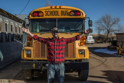 Sam Soholt converted a 1993 Bluebird school bus into a traveling house/hunting camp.