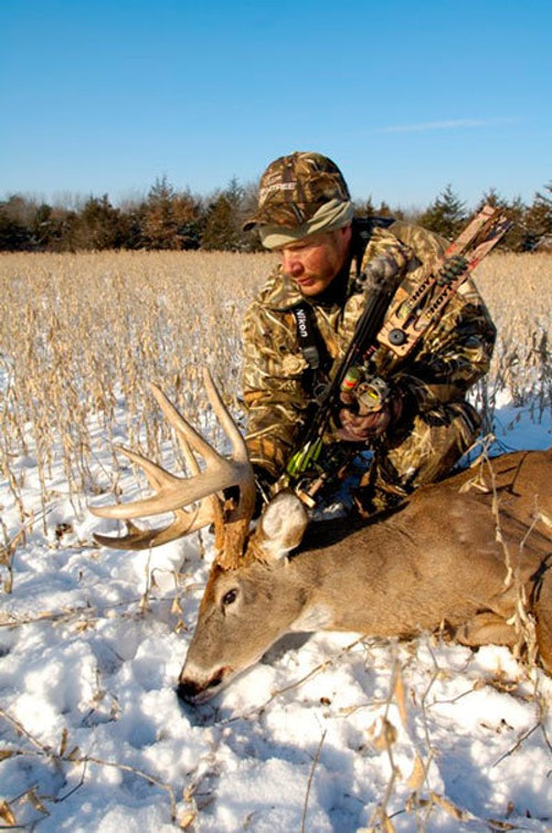 During rifle season, the author took this mature midwestern buck with his bow. Photo: Clint Stone