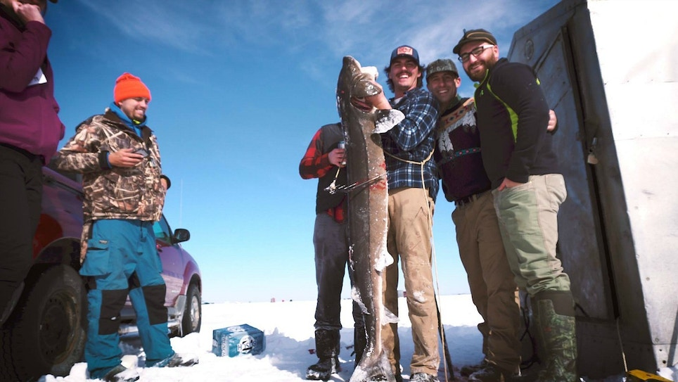 Video: Spearing a Monster Sturgeon Through the Ice