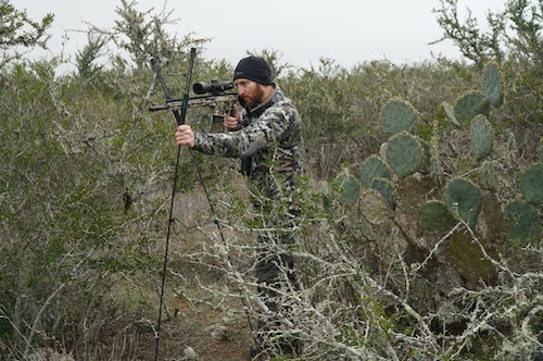 If you want a lightweight bipod for standing shots, check out the Swagger Stalker Lite XL.