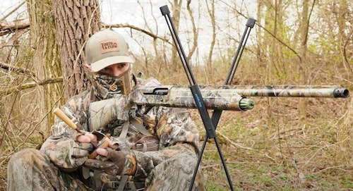 Shooting sticks such as the Swagger Stalker Lite allow you to wait on a wild turkey and be ready to shoot without moving the gun the moment a bird arrives.