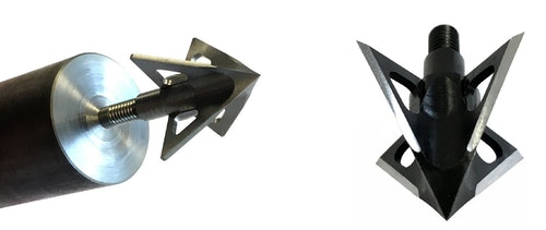 As shown in this photo, Tooth of the Arrow Broadheads are turned and milled from a solid piece of high-carbon steel.
