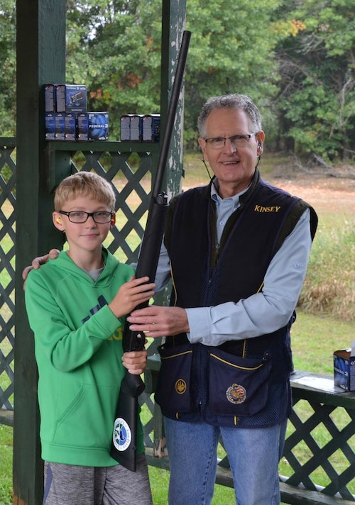 Roofers International President Kinsey Robinson offered young shooters advice on the finer points of form and firearms handling.