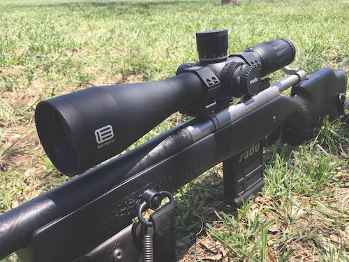 It's tough to make precise long-range shots with scopes that max out at 9X or 10X. The author relied on an EOTech Vudu 3.5-18x50mm SFP riflescope, killing an aoudad with the power dialed to 15X.
