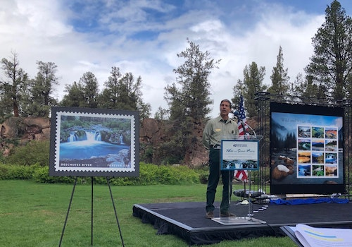 The U.S. Postal Service released its new stamp series at a ceremony on the banks of the Deschutes River in Bend, Oregon. Photo: USDA Forest Service
