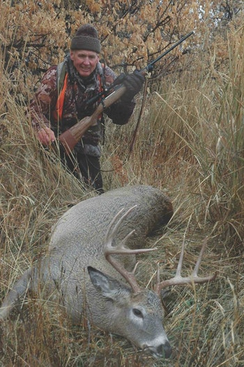 The author killed this Montana buck at iron-sight range with a Kimber 84M. No need for magnums here.