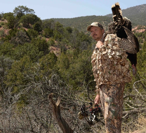 It's nearly impossible to run and gun out West and carry a pop-up ground blind. Instead, invest in quiet high-quality camo, and learn to hide in the shadows. Crawling is a must, too. Many western bowhunters rely on ghillie suits to help break up their outline.