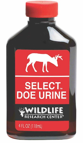 Wildlife Research Center Select Doe Urine will attract curious bucks and does from opening day until the close of archery deer season.