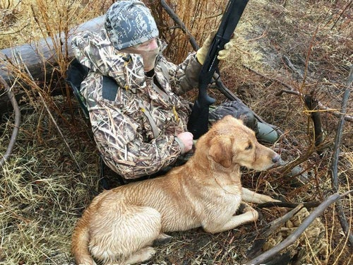 The author and Cash waiting on waterfowl.