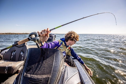 Bass anglers typically prefer fast-action rods like the one above for most lure presentations. The only time they choose a moderate action is when using crankbaits because the flex helps treble hooks remain in the fish during the fight.