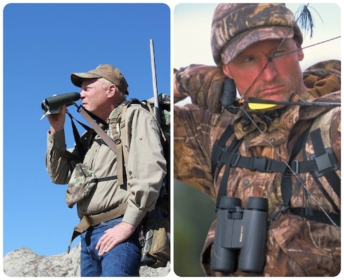 The elastic straps of a harness allow a binocular to slide up and flex out when glassing (left). When the bino isn't being used, the harness holds it securely against your chest (right).