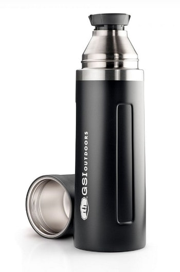 The Glacier Stainless 1L Vacuum Bottle holds 33.8 ounces of fluid, and its cap serves as a cup.