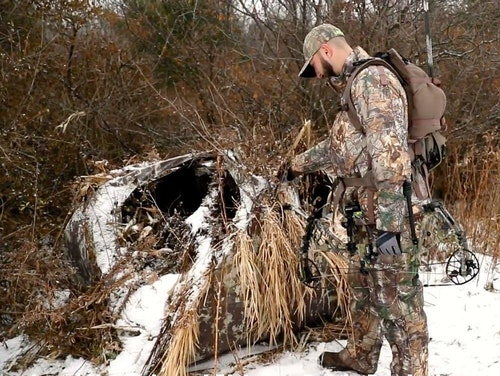 When a pop-up ground blind collapses under the weight of heavy snow, the result is typically one or more broken poles, and ripped fabric on the roof and side panels.