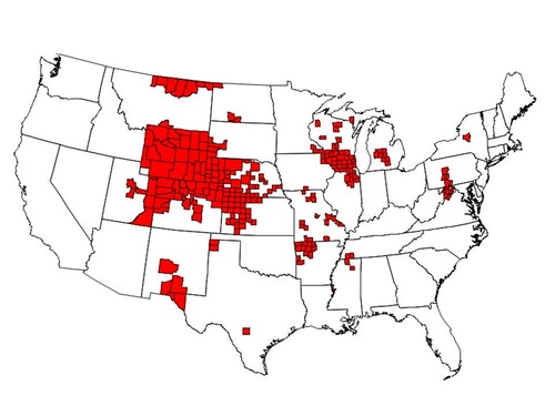 As of January 2019, there were 251 counties in 24 states with reported CWD in free-ranging cervids. This map is based on the best-available information from multiple sources, including state wildlife agencies and the United States Geological Survey (USGS).