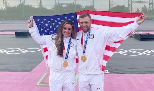 Women's and Men's Skeet gold medalists: Amber English and Vincent Hancock.