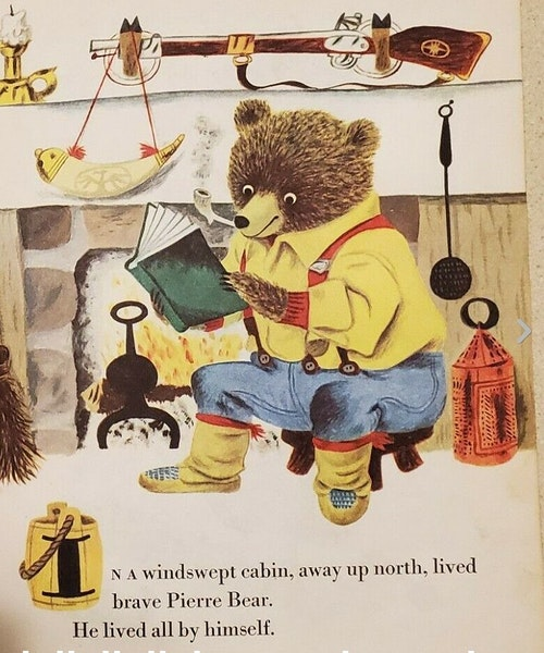 """The first page from Patricia Scarry's """"Pierre Bear."""" The illustrations were drawn by Patricia's husband, Richard."""