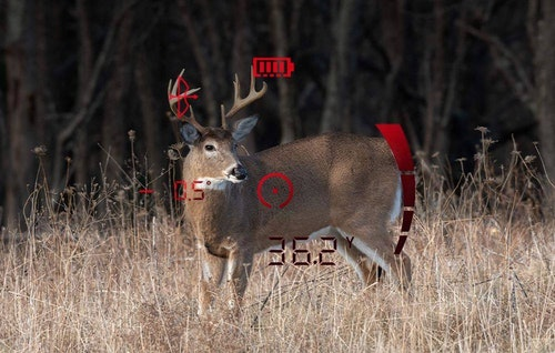 Depending on lighting conditions, the Bushnell Fusion X rangefinding binocular displays readouts in either black or red.