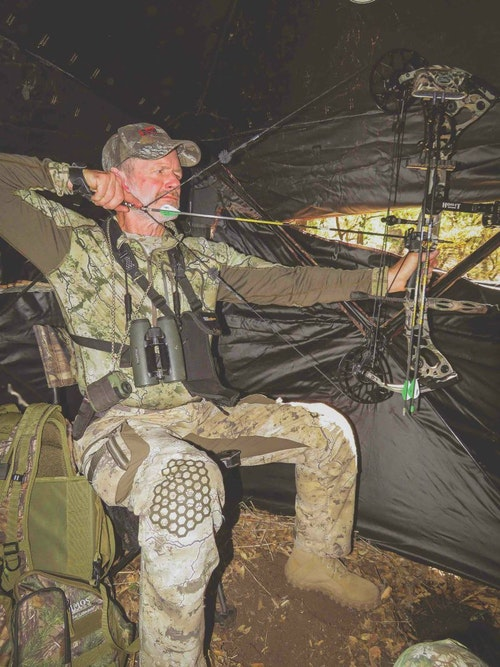 Specificity training means practicing tasks you'll be specifically doing. If you'll hunt from a ground blind, practice shooting from a chair.