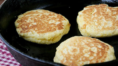 The texture of a hoecake is quite different than the texture of cornbread baked in the oven. It's less cakey and more buttery. Photo: Betty Crocker
