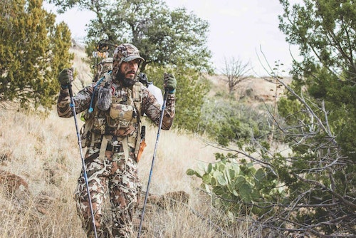 The author utilizes trekking poles while hunting Coues deer. Coues country is steep and rocky, and trekking poles are a great tool for keeping upright.