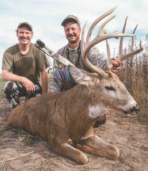 Doyle Shipp's tall-tined Kansas buck almost slipped away before he grunt-called it back under his low-hanging treestand. The warm-weather buck net-scored 160 record-book points.